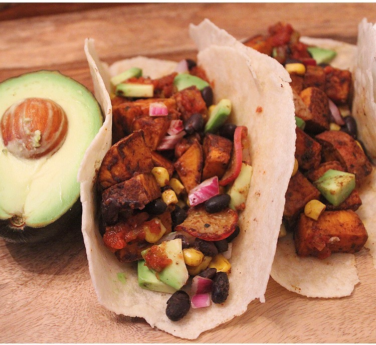 Sweet Potato Black Bean Corn Tacos