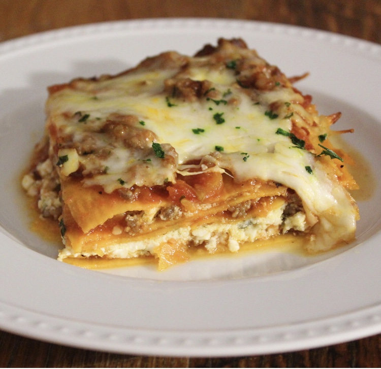 Cottage Cheese And Sausage Sweet Potato Lasagna